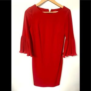 Calvin Klein gorgeous ruby red pleated bell sleeve